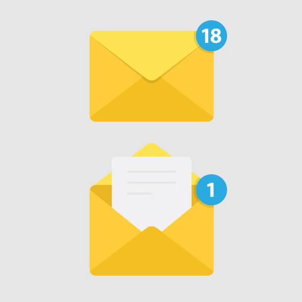 ilustrações, clipart, desenhos animados e ícones de isolado no fundo branco e o ícone do mail de notificação de mensagem. - mensagem