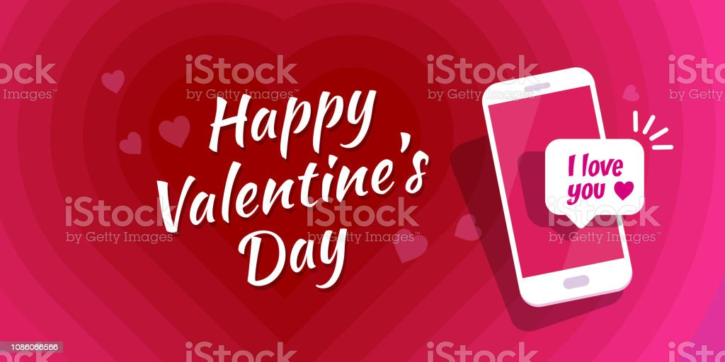 Royalty Free Happy Valentines Day Sms Message On Mobile Phone Clip
