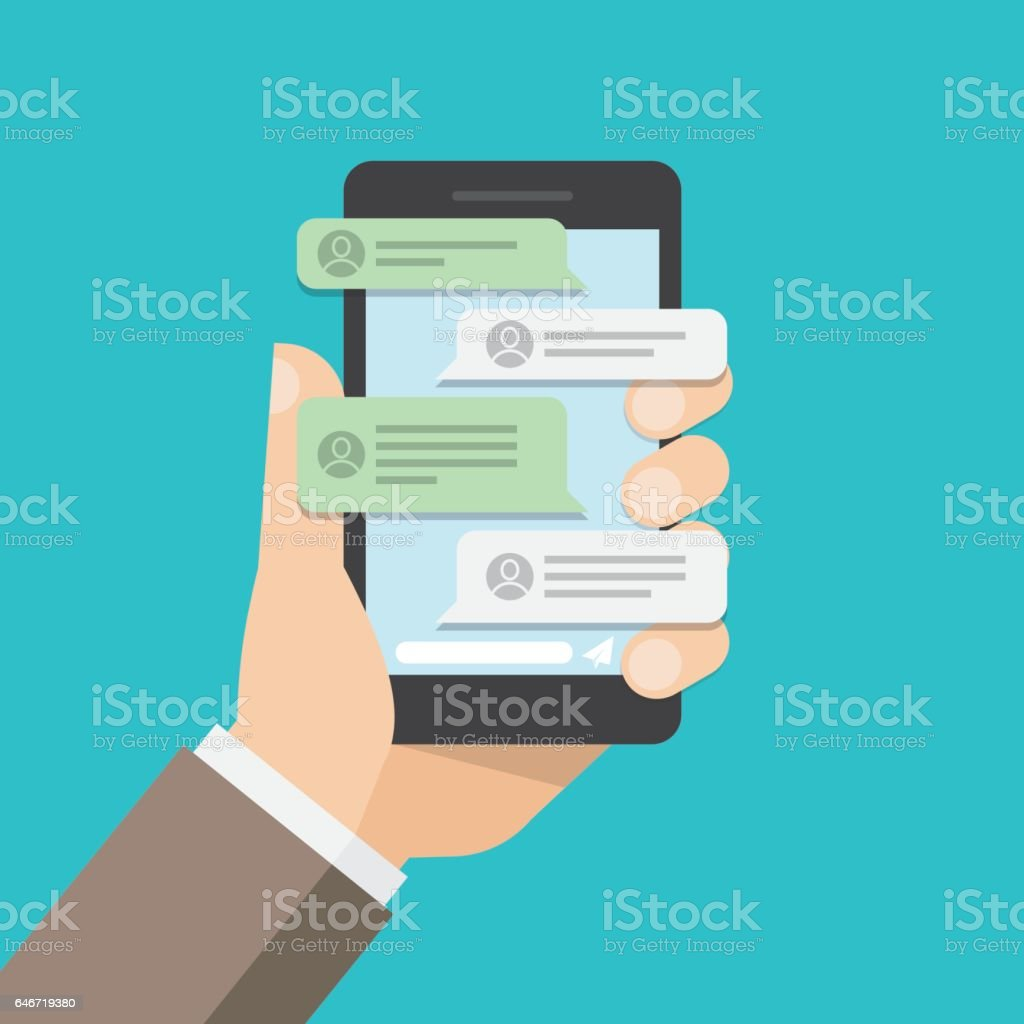 message notifications in mobile phone. vector art illustration