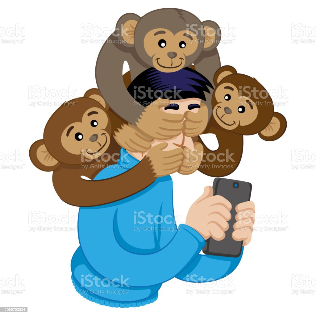 Message of awareness analogy concerning the monkeys, blind, deaf and...