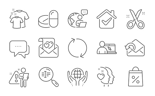 Message, Organic tested and Online education icons set. Clean t-shirt, Refresh and Love letter signs. Vector