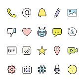 Message pack - outline color vector icons