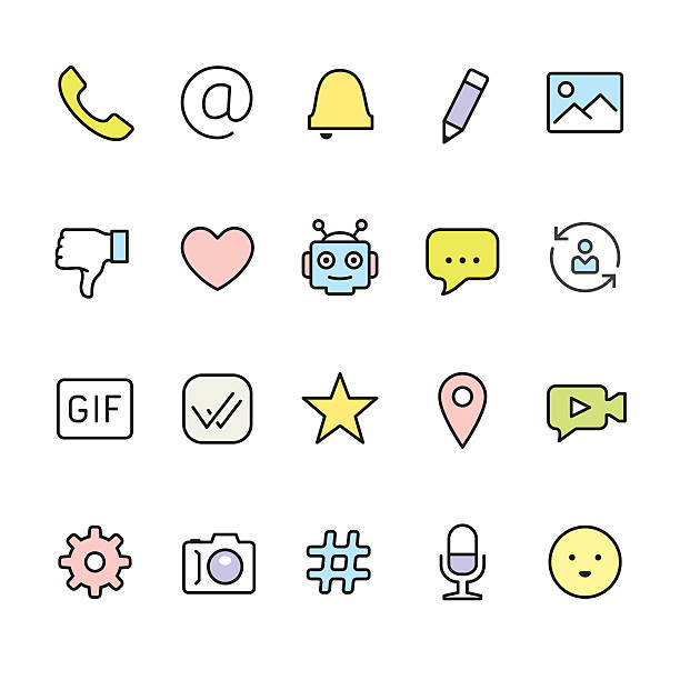 message pack - outline color vector icons - gif stock illustrations