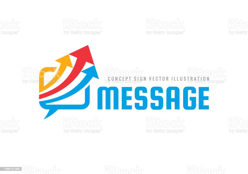 Message - speech bubbles with arrows vector business sign template...