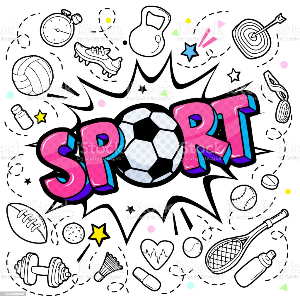 Concept of Sport. Comic speech bubble with Sport lettering with...