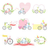 Message Template Set With Bicycles And Hearts