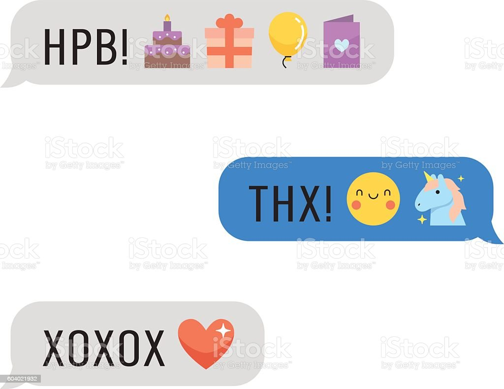 Messages with cute emoji and text. Part four. vector art illustration