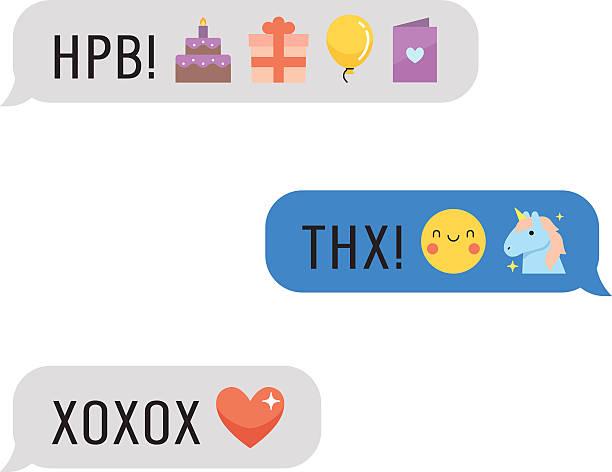 illustrations, cliparts, dessins animés et icônes de messages with cute emoji and text. part four. - ballon anniversaire smiley