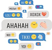 Messages with emoji and text circle illustration.