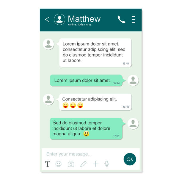 messenger app window template. chatting and messaging. social network concept. realistic vector isolatedchat page - whatsapp stock illustrations