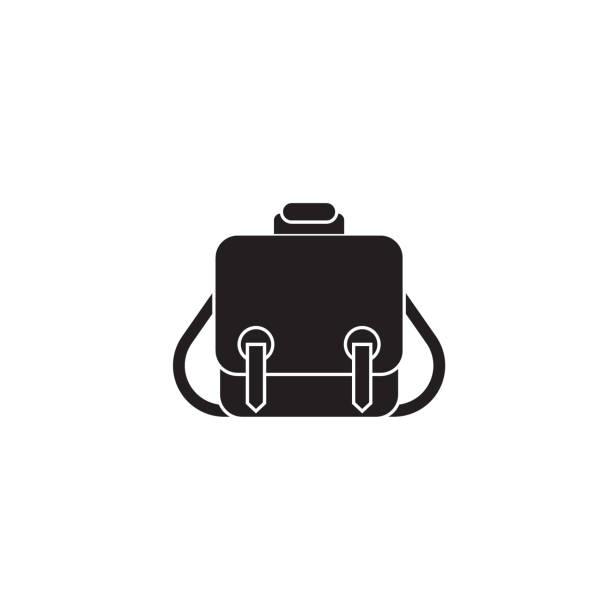 messenger tasche schwarz vektor-konzept-symbol. messenger tasche flach abbildung, zeichen - lederranzen stock-grafiken, -clipart, -cartoons und -symbole