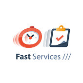 Messenger delivery period, fast service, time running, stopwatch in motion, deadline concept, quick survey, enrollment time limit