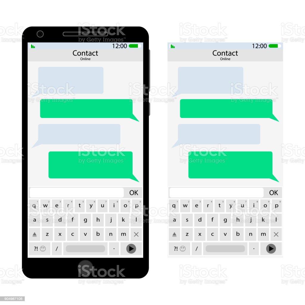 Messenger-Schnittstelle für Smartphones – Vektorgrafik