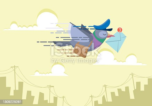 istock messenger pigeon post mail courier flying over the city skyline. sending email concepts flat vector illustration 1309225261