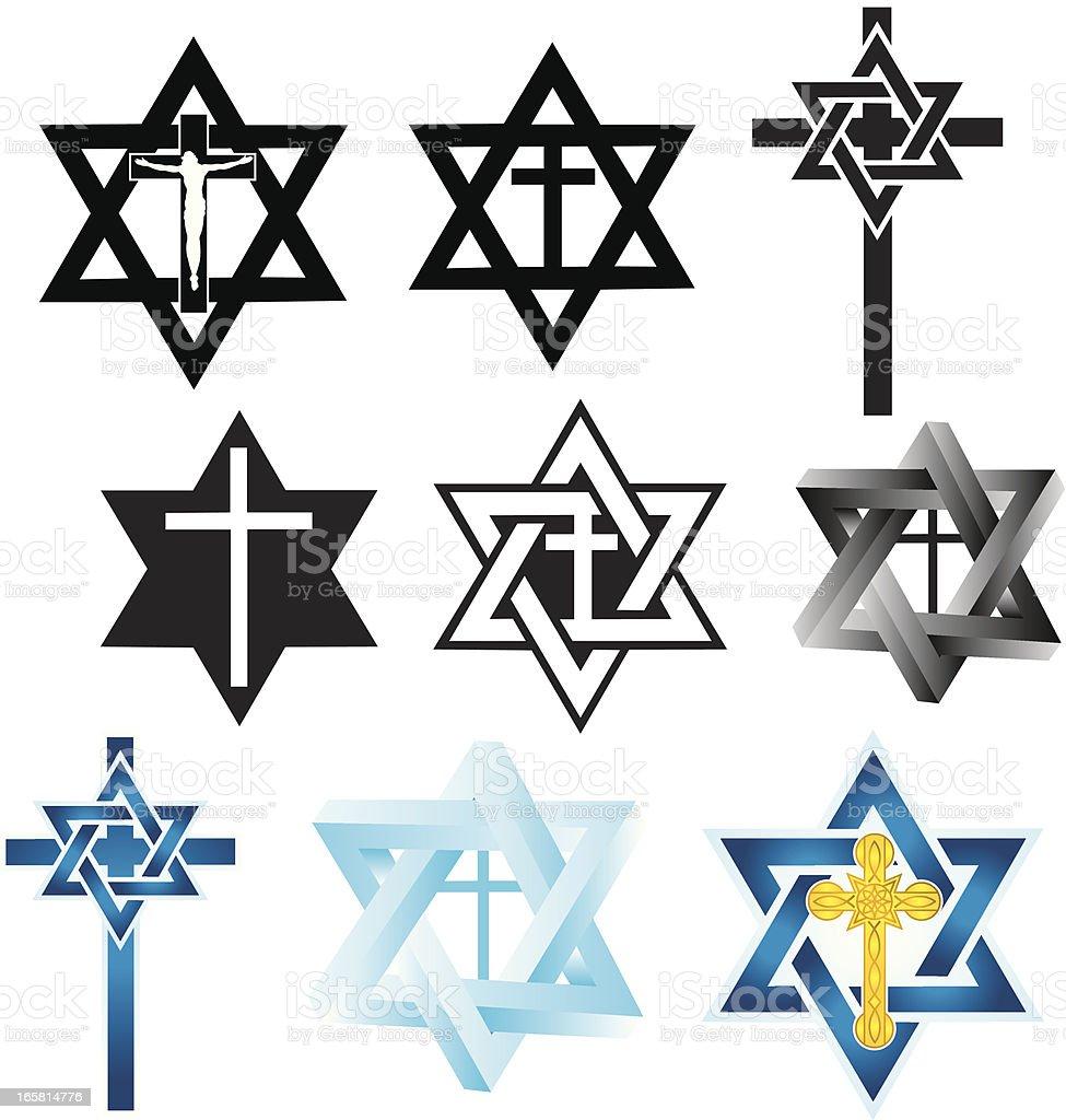 Messianic Judaism Symbols Star Of David Religious Cross Stock Vector