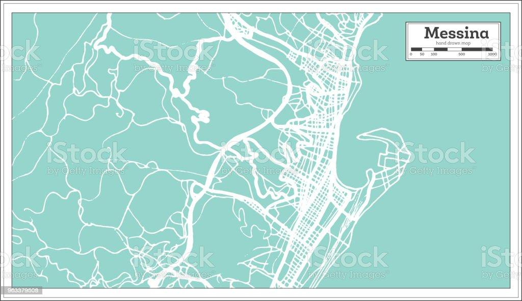 Messina i Italien stadskarta i retrostil. Konturkarta. - Royaltyfri Arkitektur vektorgrafik