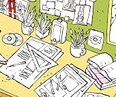 messy and crowded student office Desk cartoon illustration