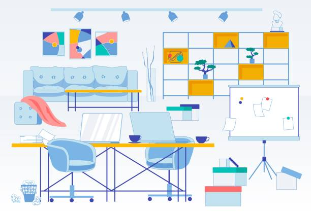 messy and dirt workplace flat office interior - schrankkorb stock-grafiken, -clipart, -cartoons und -symbole