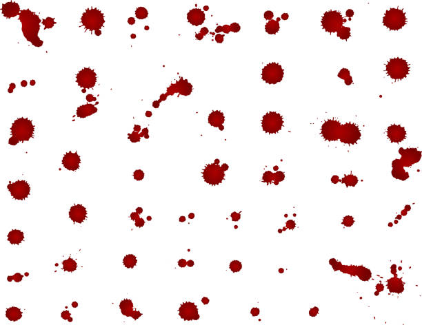 Messy blood blot collection, red drops on white background. Vector illustration, maniac style, isolated vector art illustration
