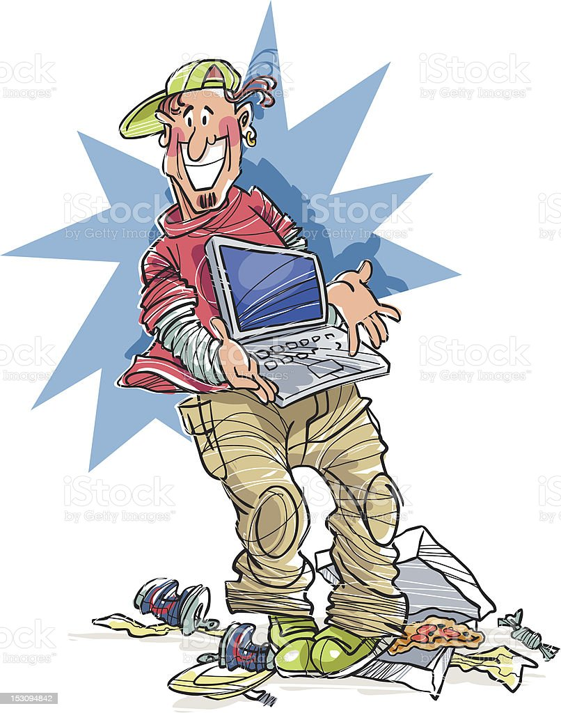 Messy boy with laptop vector art illustration