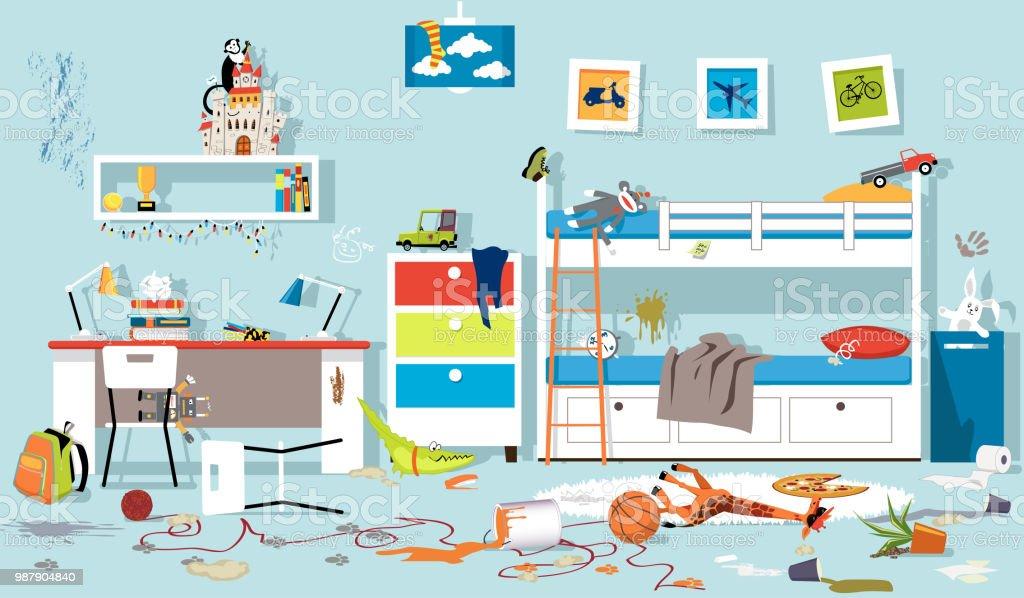 Messy children's room vector art illustration