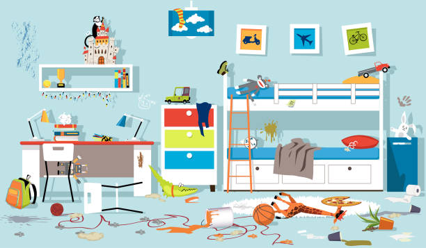 illustrazioni stock, clip art, cartoni animati e icone di tendenza di messy children's room - disordinato