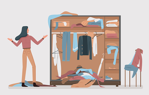 Messy closet, dressing home room interior with cartoon woman