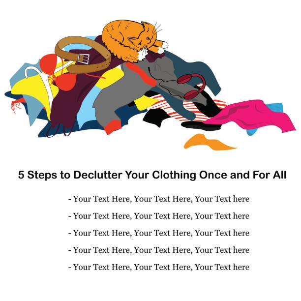 Messy clothing pile with a sleeping cat. Illustration about decluttering with place for text. Vector illustration Messy clothing pile with a sleeping cat. Funny illustration about tidying up with place for text. Vector background laundry basket stock illustrations