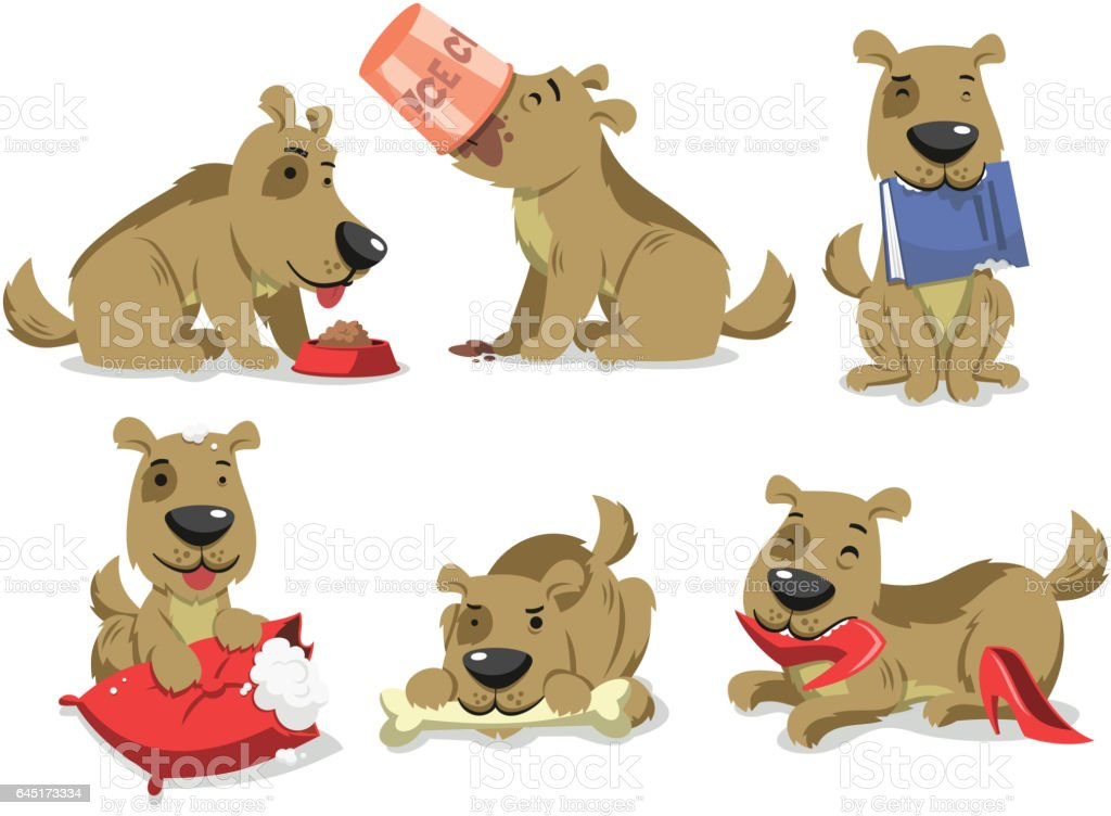 messy dog eating things vector art illustration