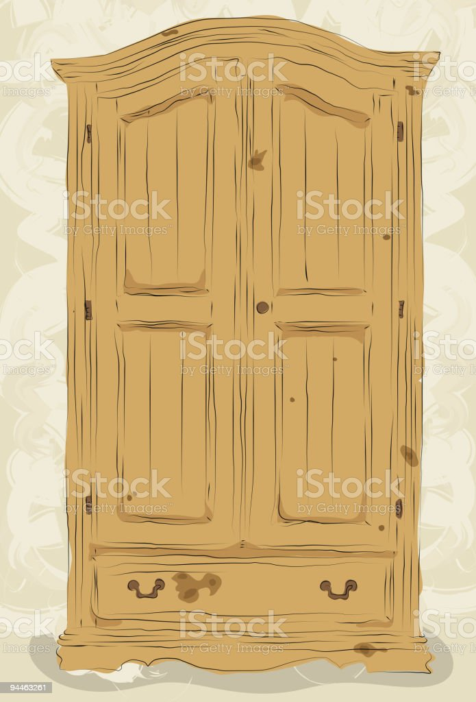 Messy hand drawn armoire royalty-free stock vector art