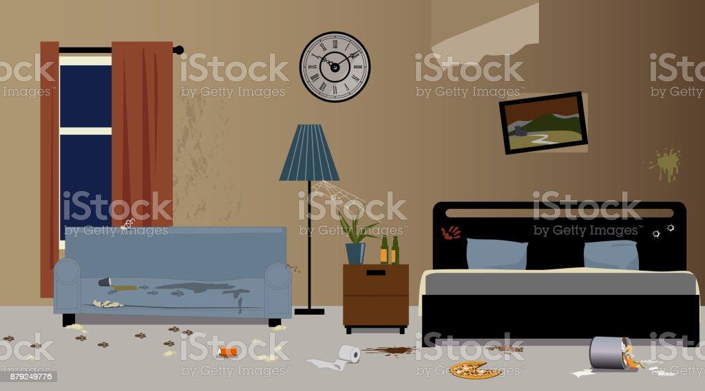 Messy hotel room vector art illustration
