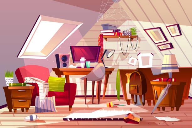 chaotisch zimmer im dachboden dachboden-vektor-illustration - dachboden stock-grafiken, -clipart, -cartoons und -symbole