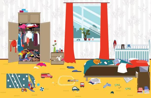 散らかった部屋は、小さな赤ちゃんを持つ若い家族が住んでいます。だらしないルーム。漫画の部屋の混乱。未回収のおもちゃのもの。ベクトル図をクリーニングします。 - 楽しい 洗濯点のイラスト素材/クリップアート素材/マンガ素材/アイコン素材