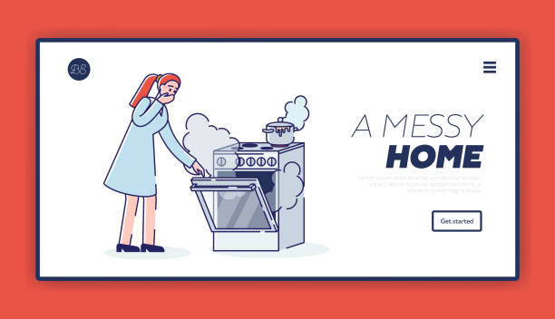 ilustrações de stock, clip art, desenhos animados e ícones de messy while cooking landing page with woman at cooking stove and oven in smoke - burned oven