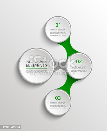 Infographics template. Metaball for diagram, graph, presentation and chart. Business concept with 3 options, parts, steps or processes.