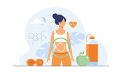 istock Metabolic process of woman on diet 1241718659