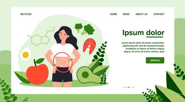ilustrações de stock, clip art, desenhos animados e ícones de metabolism of human organism - woman eating salmon