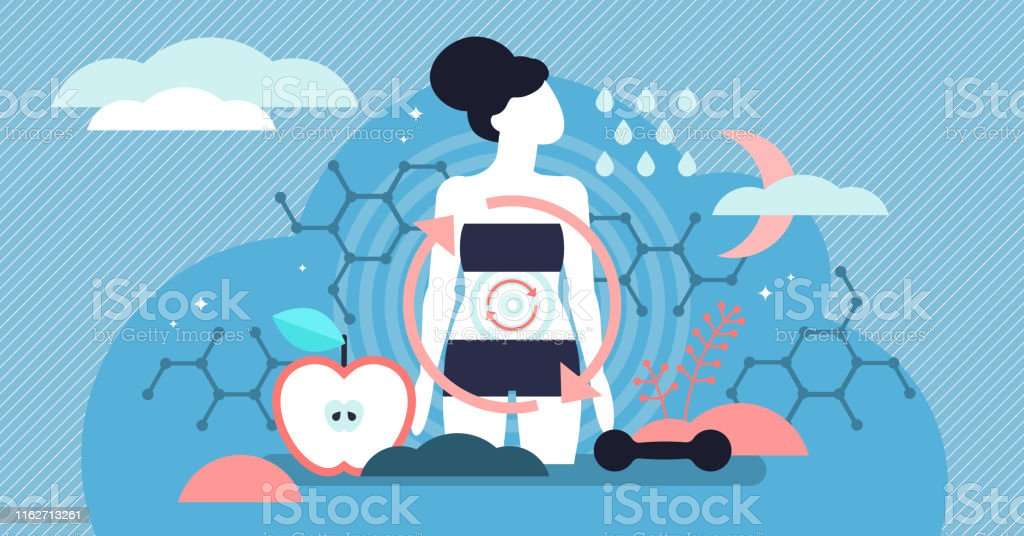 Metabolism vector illustration. Flat tiny food to energy persons concept. - Royalty-free Abstract stock vector