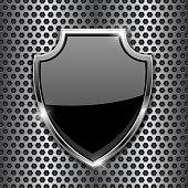Metal 3d black shield on metal perforated background. Vector illustration