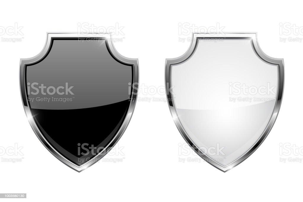 8f32e9d8cda Metal 3d escudos. Iconos de cristal blanco y negro con marco cromado  ilustración de metal