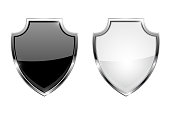 Metal 3d shields. Black and white glass icons with chrome frame. Vector illustration isolated on white background