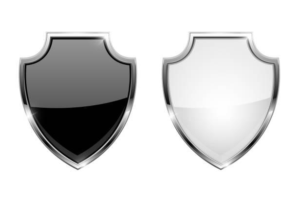金屬3d 護盾。帶鍍鉻框的黑白玻璃圖示向量藝術插圖