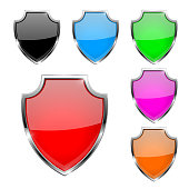 Metal 3d shields. Set of colored safety symbols. Vector illustration isolated on white background
