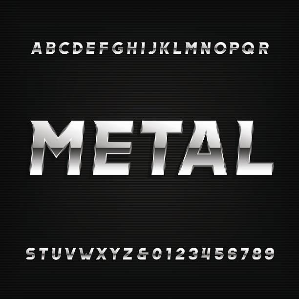 ilustrações, clipart, desenhos animados e ícones de fonte de alfabeto metálico. chrome efeito letras e números oblíquos. - cromo metal