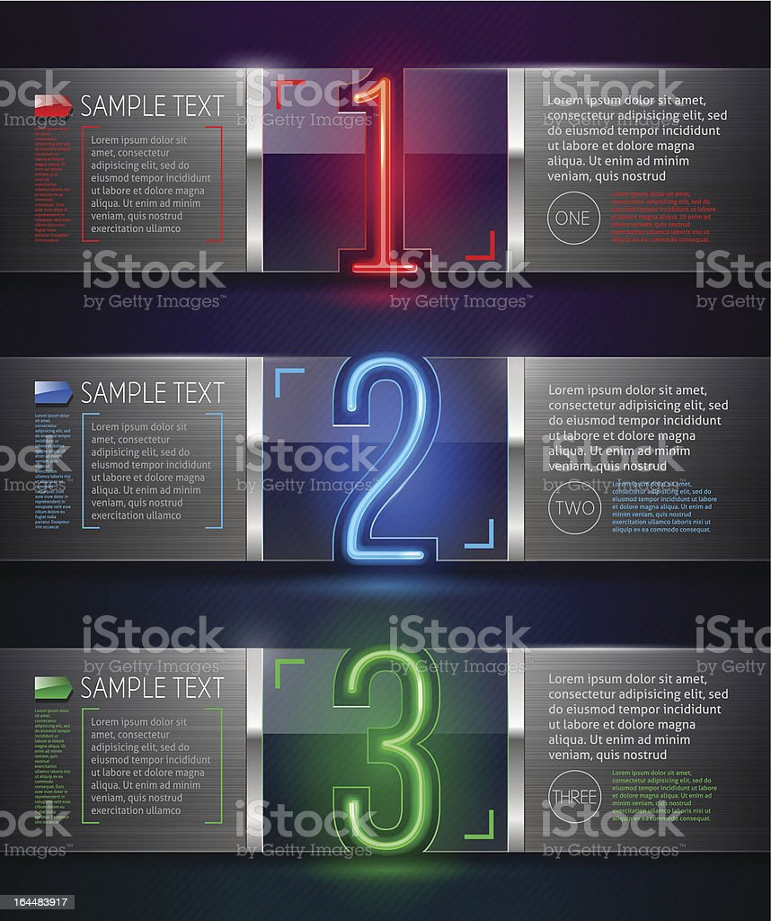 Metal and glass banners with neon numbers royalty-free stock vector art