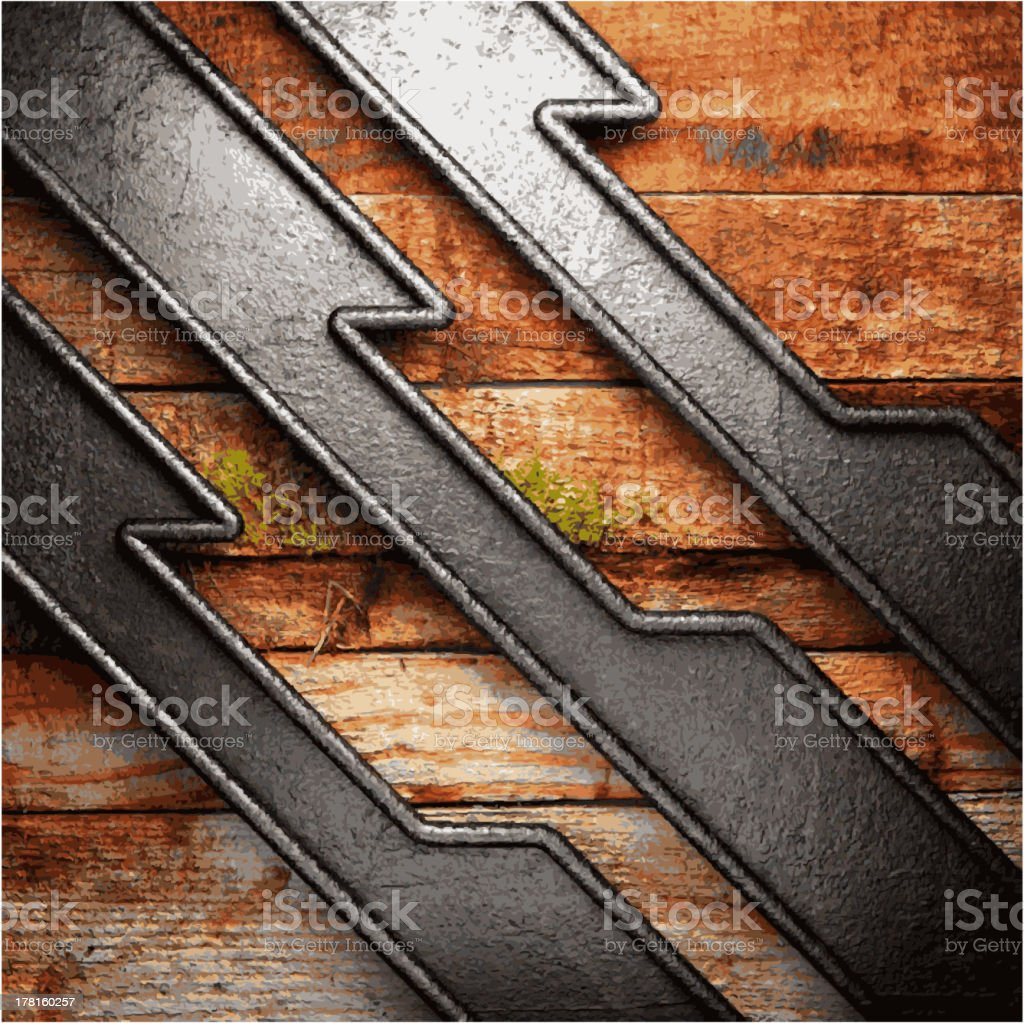 metal and wood background royalty-free stock vector art