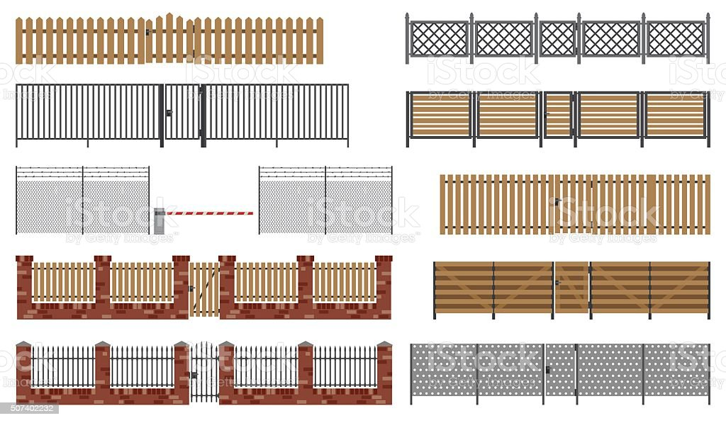 Metal and wooden fences and gates. vector art illustration