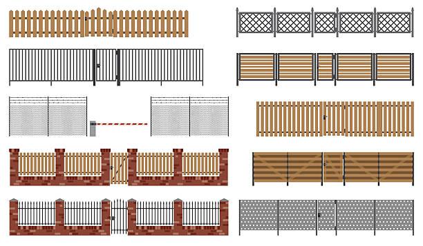 stockillustraties, clipart, cartoons en iconen met metal and wooden fences and gates. - fence