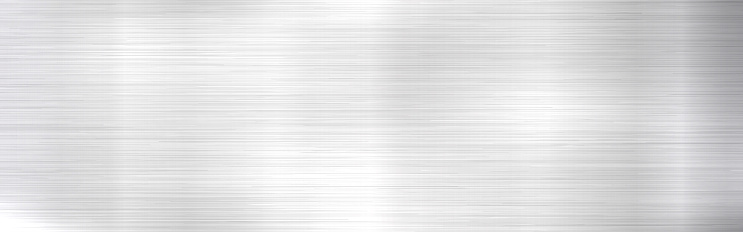 Metal background. Long steel texture. Realistic silver material with shine. Stainless backdrop with light effect. Metal sheet design. Vector illustration.