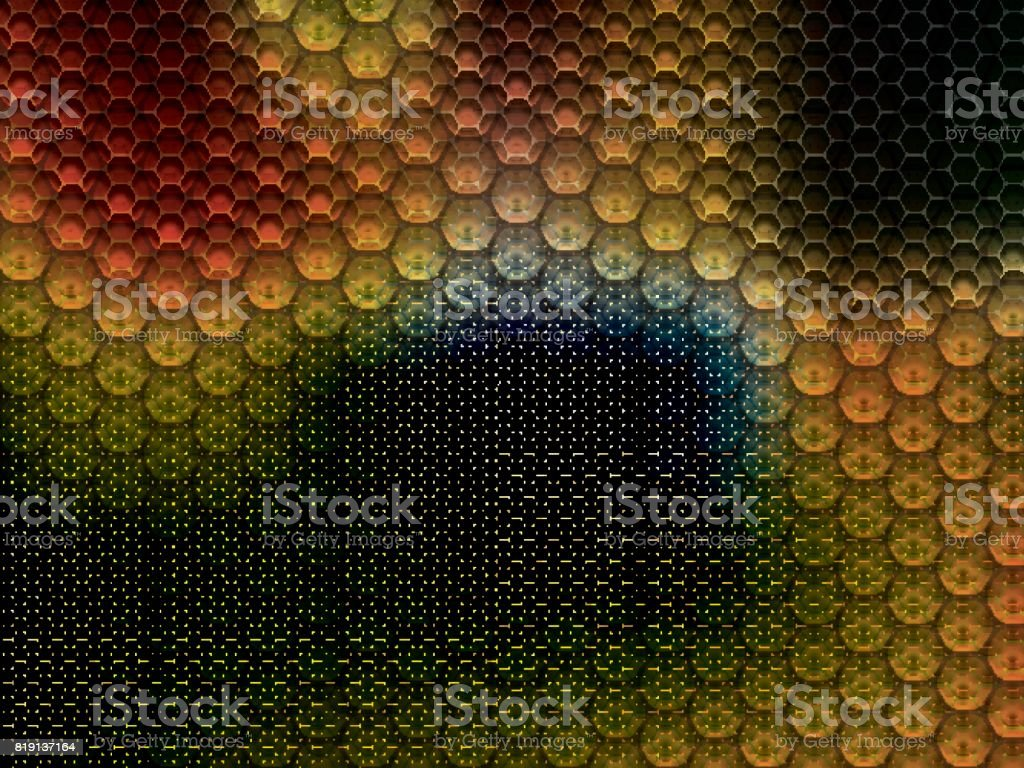 Metal background with hexagons vector art illustration